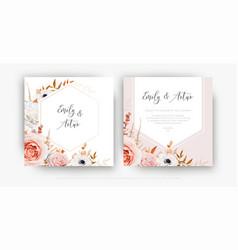 cute floral autumn wedding invite card template vector image