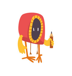 cute freaky monster with pencil funny colorful vector image