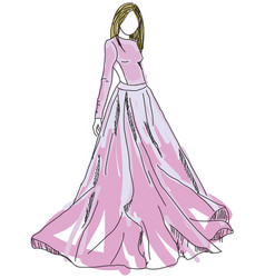 drawn woman in pink dress vector image