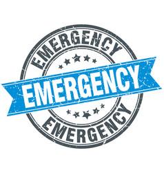 Emergency blue round grunge vintage ribbon stamp vector