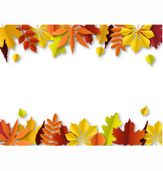 fall leaves concept autumn border paper cut vector image
