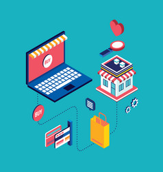 flat 3d isometric shopping concept vector image