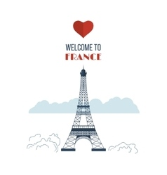 Flat design Paris France with Eiffel tower vector image