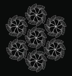 Gingko leaf circle pattern black vector