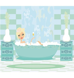 Girl relaxes in the bath vector