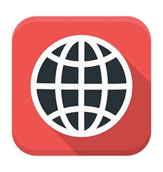 Globe app icon with long shadow vector