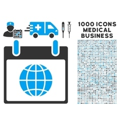 Globe Calendar Page Icon With 1000 Medical vector