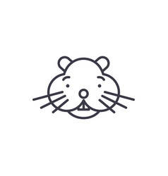 hamster head line icon sign vector image