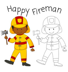 happy fireman with an axe vector image