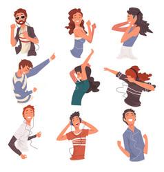 happy people listening to music wearing earphones vector image