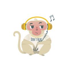 hear no evil monkey in headphones vector image