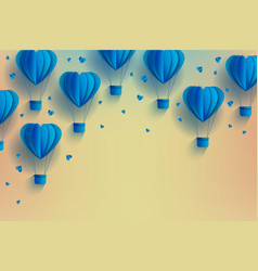 heart shaped blue hot air balloons in trendy paper vector image