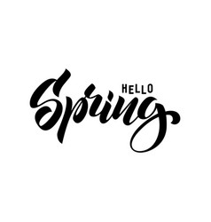 hello spring hand drawn lettering style vector image