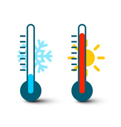 hot and cold thermometer icons with sun and vector image