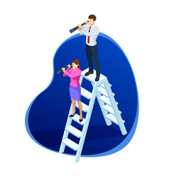 isometric successful businessman and businesswoman vector image