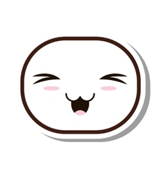 kawaii face emogy isolated icon vector image