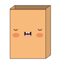kawaii paper bag in colorful silhouette vector image