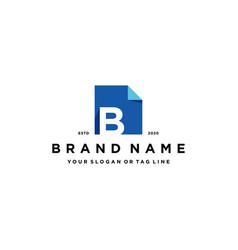 Letter b document logo design vector