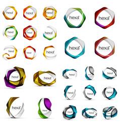 Logo mega collection - hexagons vector