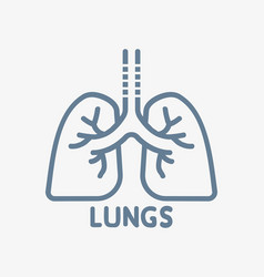 Lungs icon flat style outline vector