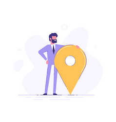 man is standing close to big map pointer vector image