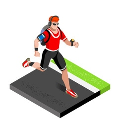 Marathon Runners Gym Working Out 3D Isometric vector
