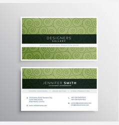 Modern business card with green swirl pattern vector