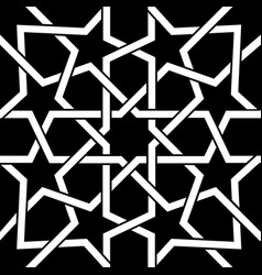 Moroccan geometric tile white design on black vector