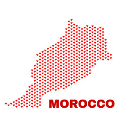 morocco map - mosaic of lovely hearts vector image