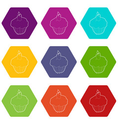 muffin icons set 9 vector image