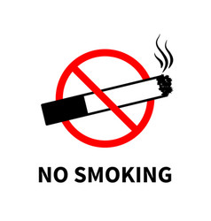 no smoking forbidden sign black cigarette with vector image
