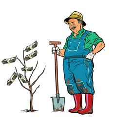 old gardener grows dollars on a tree vector image