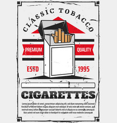 open pack filtered cigarettes tobacco product vector image