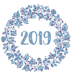 Pastel blue laurel wreath new year 2019 isolated vector