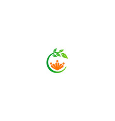People organic green leaf logo vector