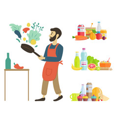 Person cooking at home set dishes food hobby vector