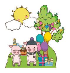 Pigs cartoons with happy birthday icon design vector