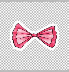 pink bow hand drawn cartoon vector image