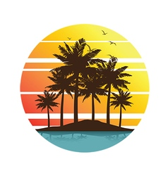 Plam tree sunset 3 vector image