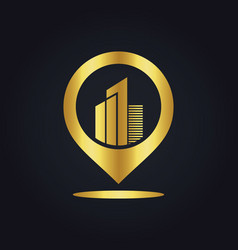 position gps building town gold logo vector image