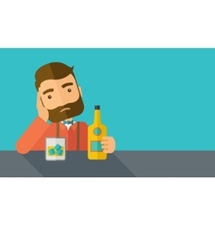 Sad man alone in the bar drinking beer vector