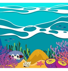 Sea animals under the ocean vector image vector image