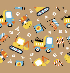 Seamless pattern cartoon construction vehicles vector