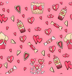 seamless pattern hearts and hand writing vector image