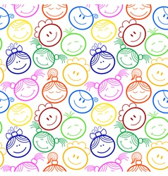 Seamless pattern with children faces vector