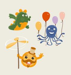 set fun characters vector image