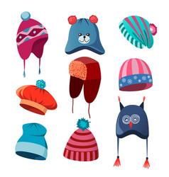 Set of autumn winter hats for men women vector