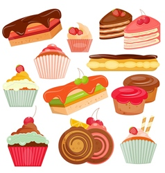 Set of Cakes Isolated vector