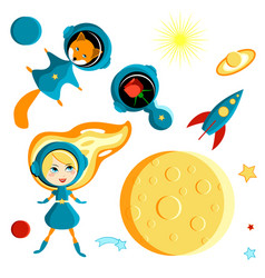 Set of elements for children - a girl a fox and a vector