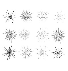 Set of radial explosions rays minimalism vector